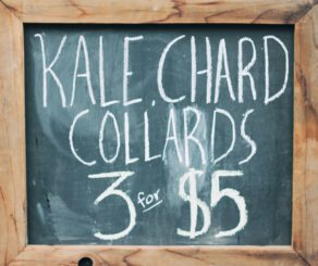 Kale farmers market sign