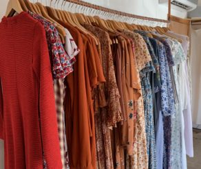 Rack of dresses at christy dawn in Los Angeles