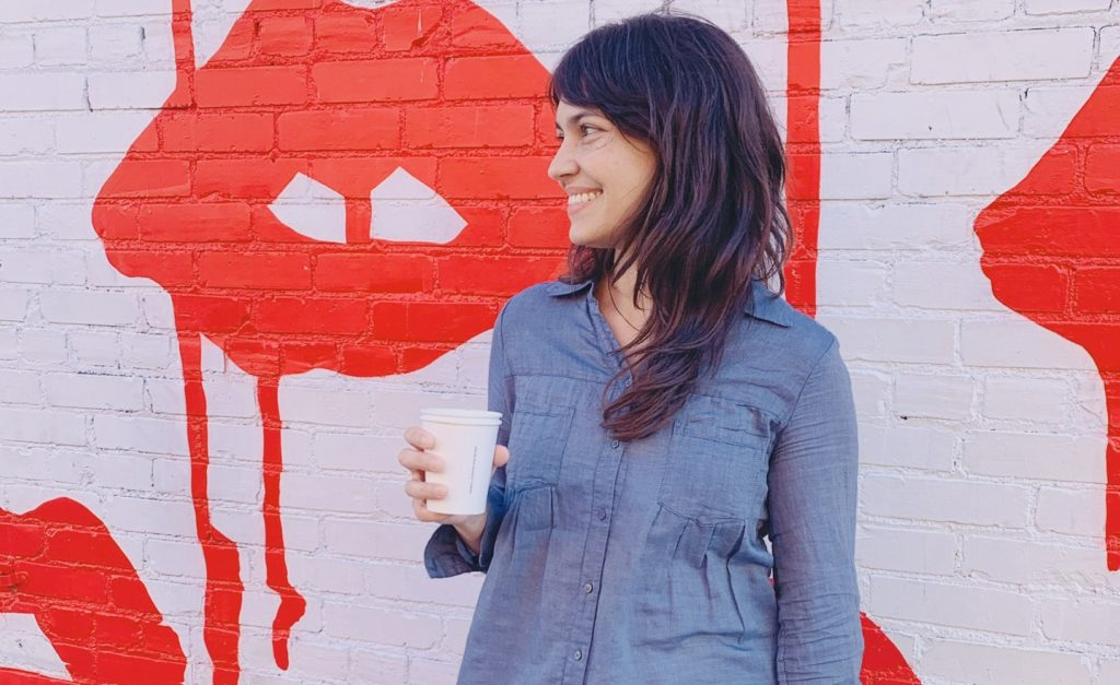 Founder Jennifer Liepis with coffee