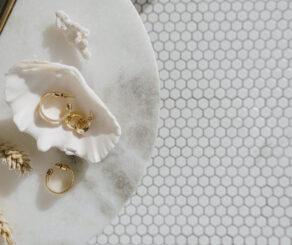 Earrings on a seashell