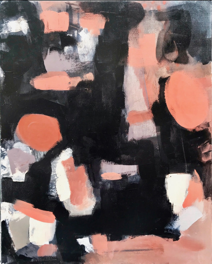 Ashley_Trabue_Painting with Black and Salmon colors