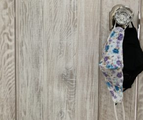 Masks hanging on doorknob